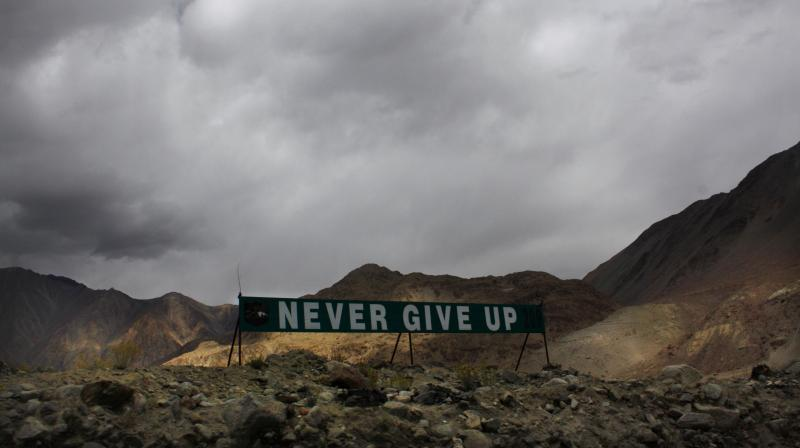 A banner erected by the Indian Army stands on a ridge around the Pangong Tso lake in Ladakh.