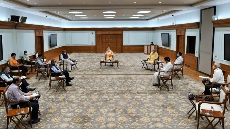 File photo of PM Narendra Modi in a meeting with the National Disaster Management Agency (NDMA) earlier this week. (Twitter).