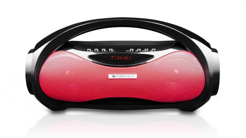 The wireless portable speaker comes in two colour variants — Red and Black.