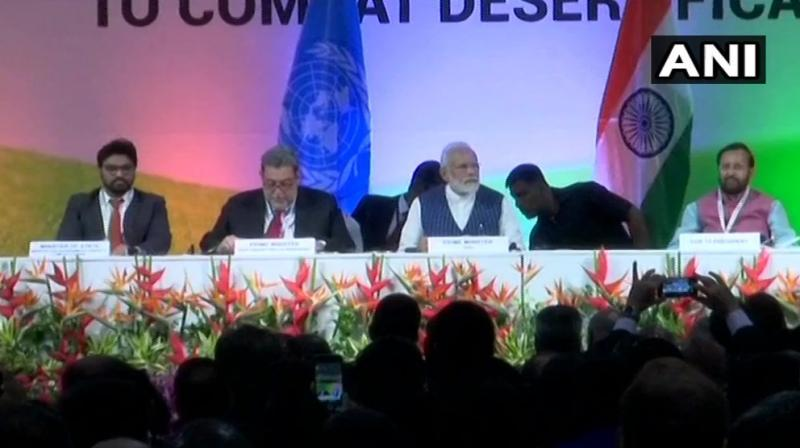 This was the 14th Conference of Parties (COP14) to United Nations Convention to Combat Desertification (UNCCD) (Photo: Twitter   ANI)