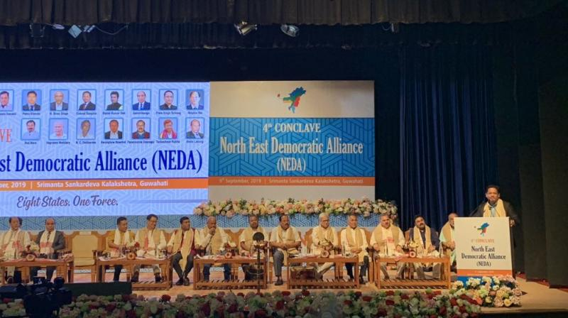 Addressing the fourth conclave of the North East Democratic Alliance (NEDA) here in the presence of Shah, Sangma questioned whether the Centre will bypass discussions with the states before reintroducing the bill. (Photo: Twitter   @SangmaConrad)