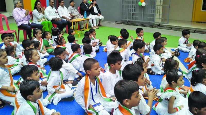 Children learned about India's freedom struggle.