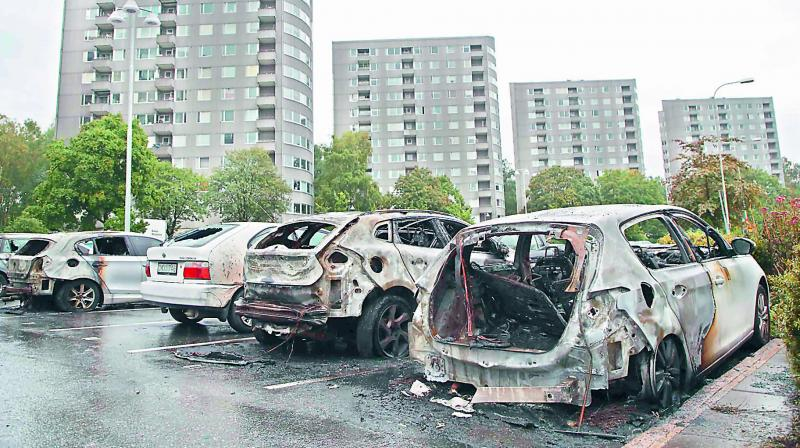Some of the cars that were burned down.