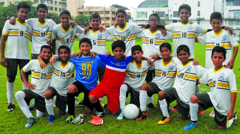 The winning Fr. Agnel team, led by Shaun Veigas, won the Navi Mumbai District Under-14 Boys Subroto Cup Football tournament.