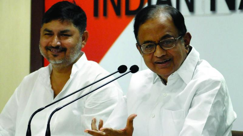 Congress leader P. Chidambaram speaks during a press conference at AICC Headquarters in New Delhi on Sunday. (Photo: Asian Age)