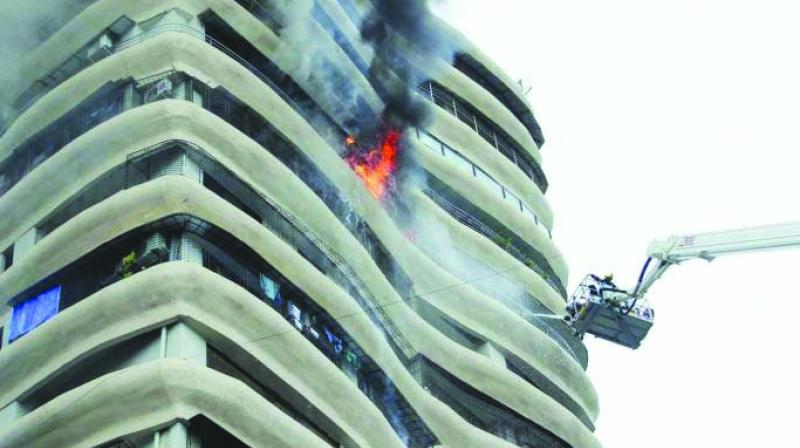Fire that broke out at Crystal Tower in Parel.