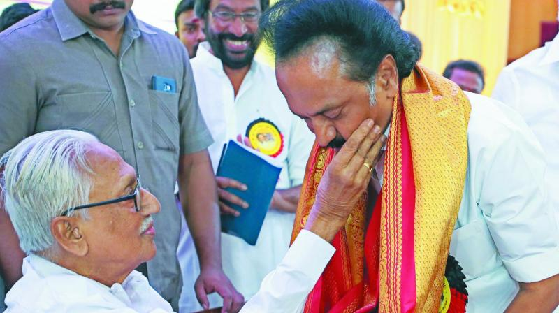 DMK president M.K. Stalin with party's general secretary K Anbazhagan. (Photo: PTI)