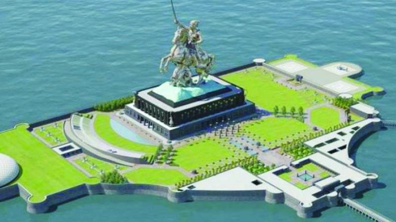 Shivaji memorial off the Arabian Sea.