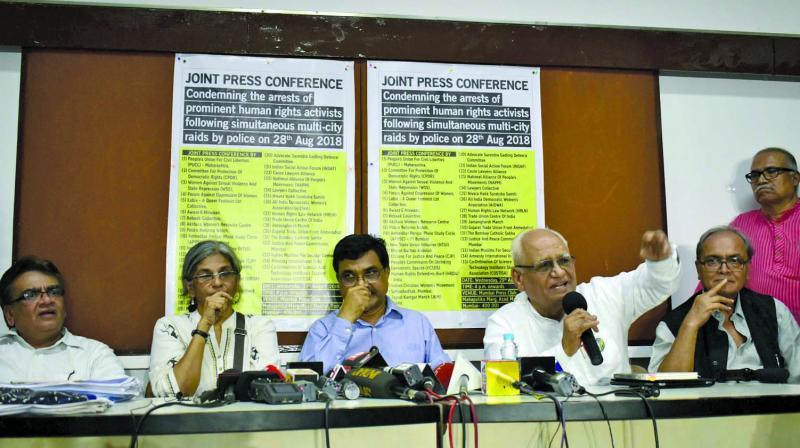 The press conference called by members of civil society at the Mumbai Press Club. (Photo: Debasish Dey)