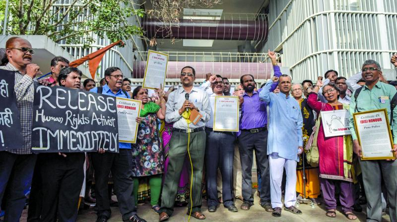 Group of activists protest against the recent arrest of 5 rights activist. (Photo: PTI)