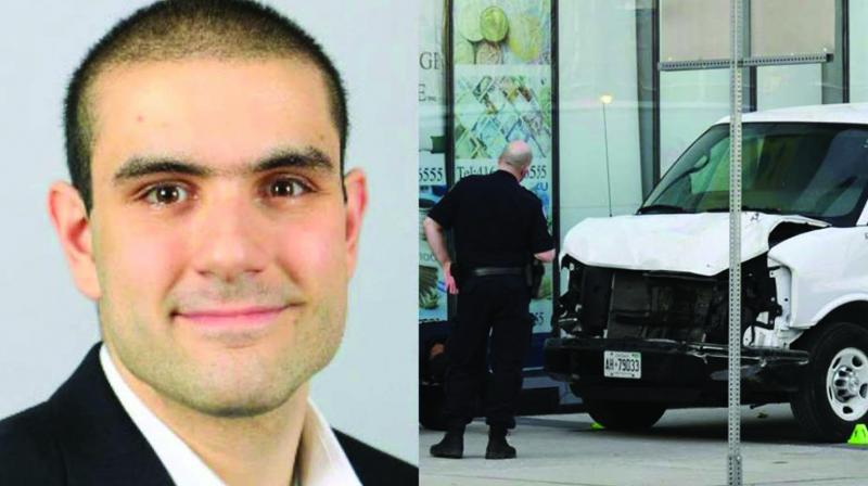 Alek Minassian and the van he used to kill  pedestrians in Toronto.
