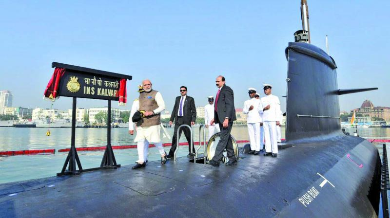 File picture of PM Modi during commissioning of INS Kalavari.