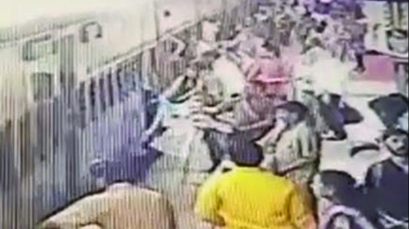 Grab of the CCTV footage from Karjat station.
