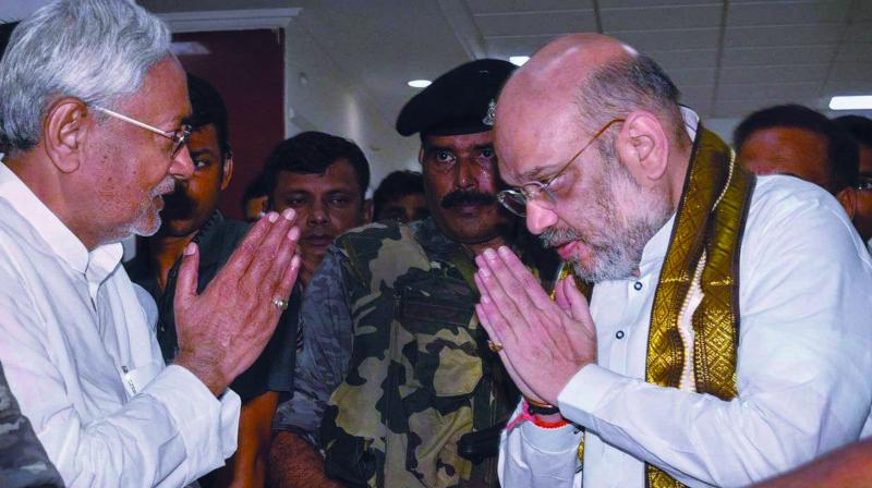 Bihar CM and JD(U) chief Nitish Kumar during a meeting with BJP president Amit Shah to discuss NDA's 2019 strategy.