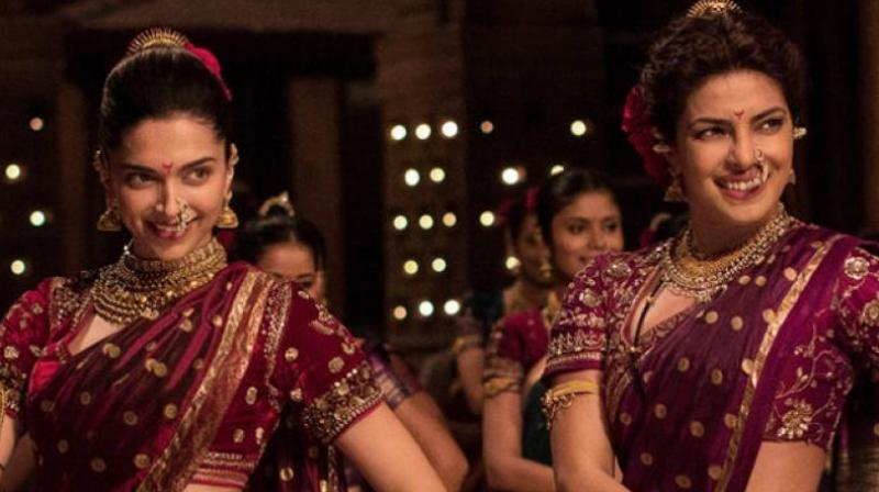 Deepika Padukone and Priyanka Chopra in a still from 'Bajirao Mastani'.