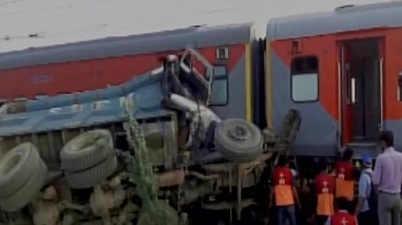 At least 50 passengers were injured and have been rushed to the hospital, said M C Chauhan, General Manager, NCR. (Photo: Twitter/ANI)