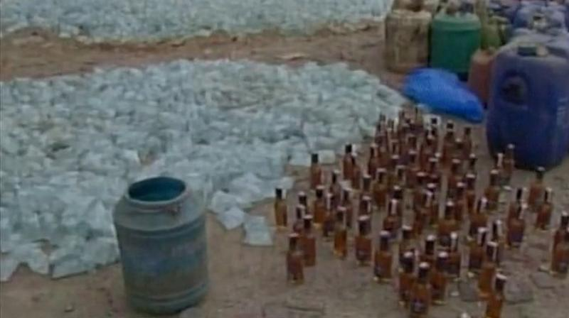 Bottles of alcohol, before disposal. (Photo: Twitter   ANI)