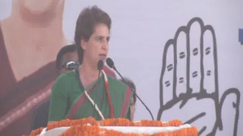 Priyanka was addressing an election rally in support of former Union Minister and Congress candidate Kumari Selja. (Photo: ANI)