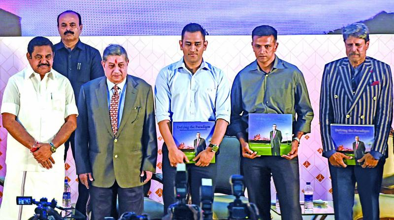 (left to right) Tamil Nadu chief minister Edappadi K. Palaniswami, managing director of India Cements N. Srinivasan, M.S. Dhoni, Rahul Dravid and Kapil Dev during the launch of a coffee table book. (Photo: PTI)
