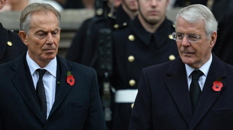 Former British Prime Ministers Tony Blair and John Major (Photo: AFP)