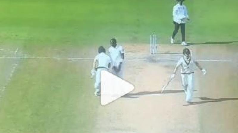 Matthew Wade who nicked a ball, tried to take a second run, but Jofra Archer stood in the middle and refused to move aside. (Photo: screengrab/Instagram)