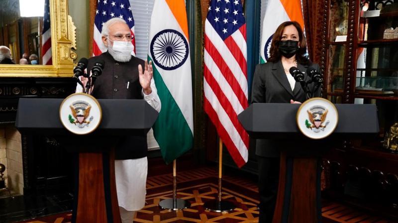PM Narendra Modi and United States VP Kamala Harris met in Washington DC. (Photo: Twitter/PMO)