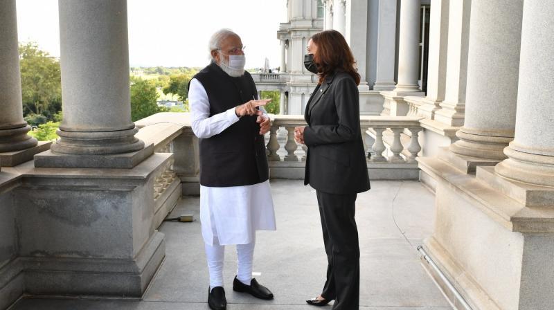 Prime Minister Modi with American Vice President Kamala Harris. (Photo: Twitter/PMO)