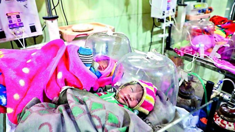 Infants undergo treatment at the JK Lone hospital in Kota district on Thursday. At least 104 infants have died at a government-run hospital in Kota in the past month. (PTI)