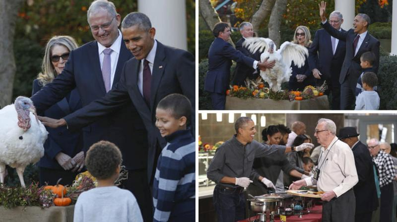 President Barack Obama on Wednesday officially pardoned two turkeys as part of a Thanksgiving ritual but this time his nephews stood in place of his daughters who he said still believe in bad puns.