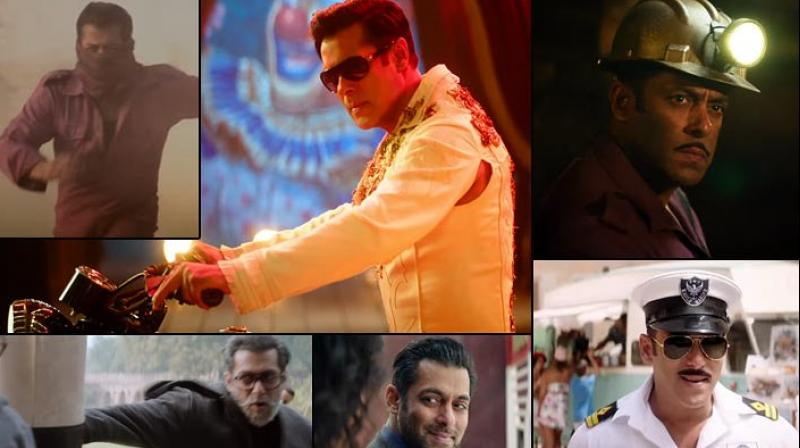 Stills of Salman Khan from Bharat teaser.