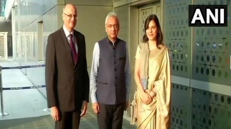Prime Minister Pravind Kumar Jugnauth was received by Foreign Secretary Vijay Gokhale in Delhi. (Photo: ANI)