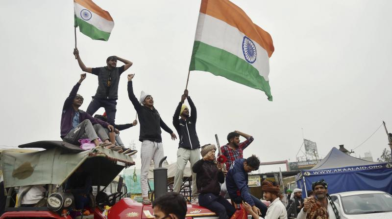 """Farmers have started organising mock rallies in parts of Punjab and Haryana to encourage more people to join the """"kisan tractor march"""" in large numbers. (Photo:PTI)"""