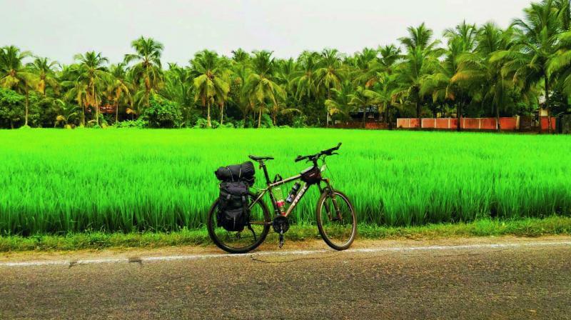 Anil Prabhakar's cycle next to a lush green field