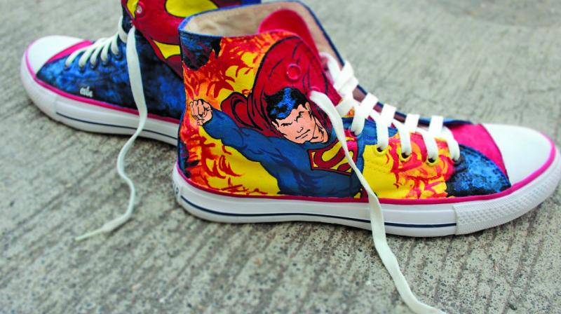 The duo hand-paint and sell customised shoes and each shoe is made to order.