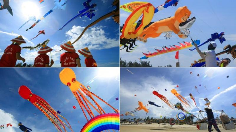 Hundreds of kites from 20 countries were taken to the sky at the festival. (Photo: AP)