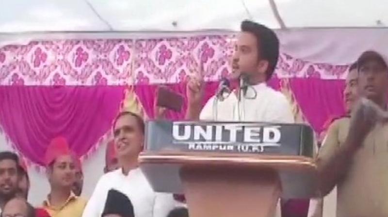 'Ali bhi humare, Bajrang Bali bhi humare. Humein Ali bhi chahiye, Bajrang Bali bhi chahiye lekin Anarkali nahi chahiye,' Abdullah said while addressing a rally here. (Photo: ANI)