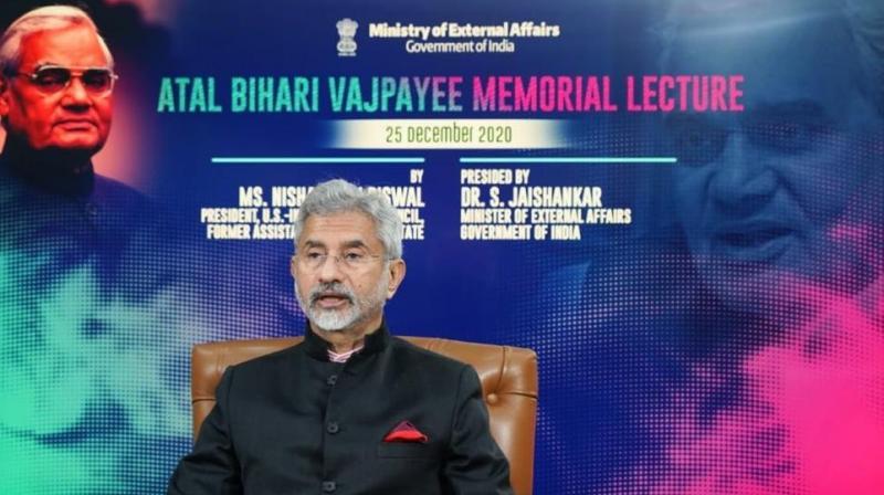 External Affairs Minister S. Jaishankar during A.B. Vajpayee Memorial Lecture (Photo credit: Twitter)