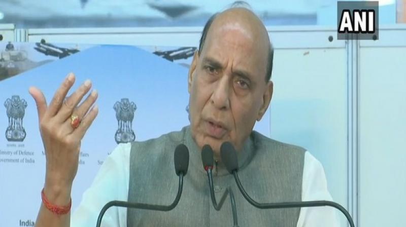 'Rajnath Singh is not worried about all this. I have no worries about corruption charges as people and big industry organisations in this country know very well who is what. I am not worried at all. Come, my doors are open for you all. I will extend you all possible help from the Defence Ministry. This is an assurance I would like to give you,' he added. (Photo: ANI)