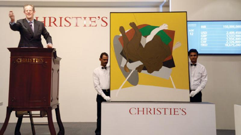 Painting by Indian artist Tyeb Mehta at an auction. (Photo: AFP)