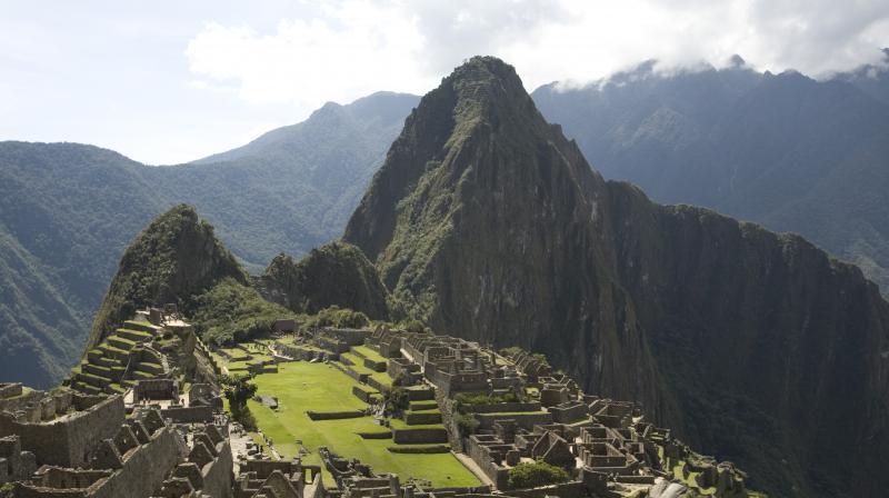A bird's-eye view of Machu Pichu in Peru.