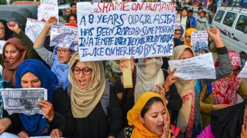 Protests against the Kathua rape case in Srinagar. (Photo: PTI/File)
