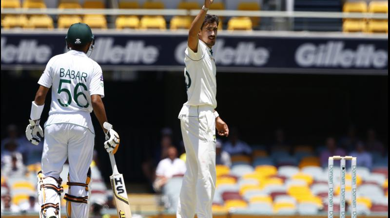 Babar Azam was fighting a lone rearguard action on day four of the first Test against Australia as the home side tightened the screws in the opening session in Brisbane on Sunday. Mitchell Starc scalped the wicket of Haris Sohail and Azhar Ali. (Photo:AP)