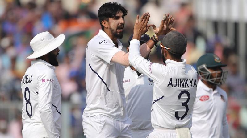 India beat Bangladesh by an innings and 46 runs in the Day/Night Test to complete series sweep here on Sunday. (Photo:BCCI)