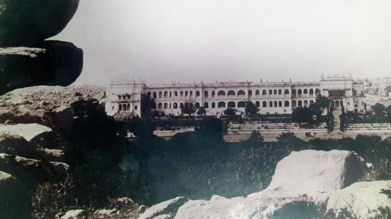 The Errum Manzil Palace before it was acquired by the state government in 1951. (Picture courtesy Dr Mir Asghar Husain)