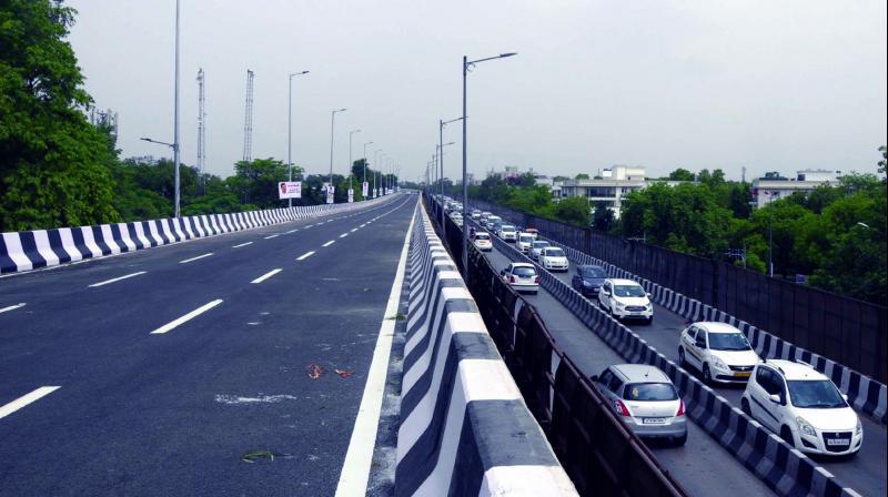 Rao Tula Ram flyover near Munirka in New Delhi opens for traffic on Tuesday. (Photo: BUNNY SMITH)