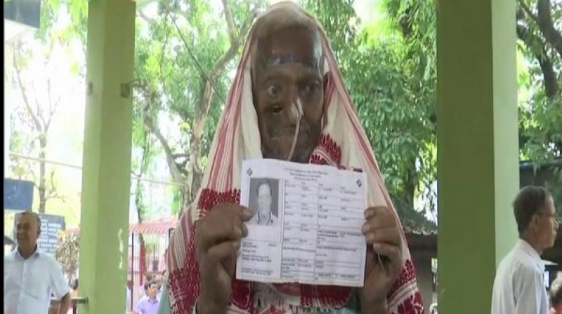 A 68-year-old man, named Basir Ali, who is suffering from cancer, on Tuesday cast vote. (Photo: ANI)