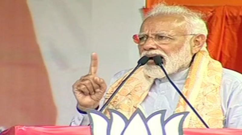 Prime Minister Narendra Modi in a rally at Asansol in West Bengal on Tuesday. (Photo: ANI)