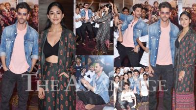 On Tuesday, Hrithik Roshan and his 'Super 30' co-star Mrunal Thakur launched Dance with Hrithik, a Facebook Group to encourage self-expression using various dance forms. The group has been facilitated by 'Dance Out Of Poverty', an NGO that works with underprivileged kids. (Photos: Viral Bhayani)