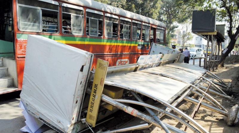 The bus shelter that collapsed at Dadar. (Photo: Shripad Naik )
