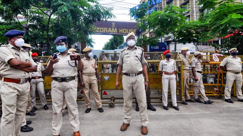 Assam security personnel stand vigil outside the Mizoram House, after Monday's inter-state border clash, in Guwahati. (PTI)